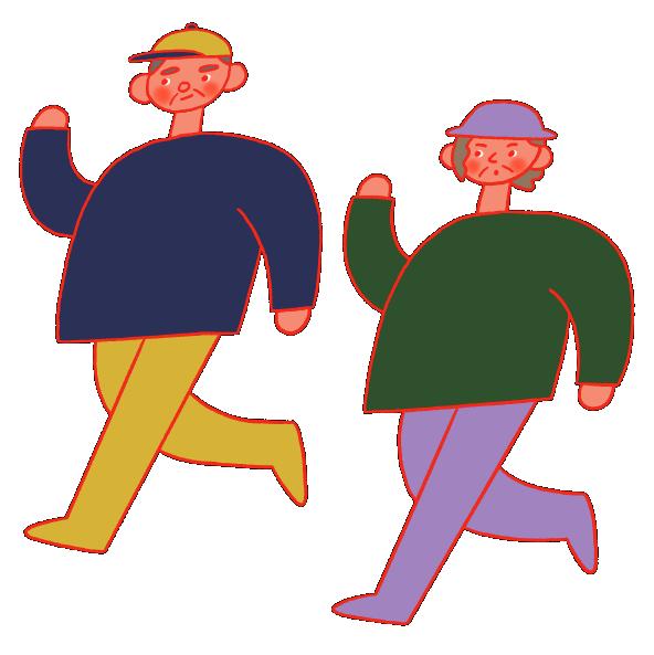 イラスト:歩いてる二人